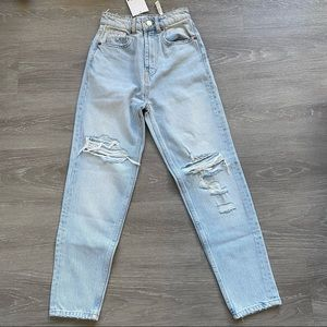 Zara Ripped Mom Jeans Light Wash